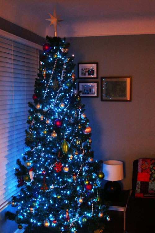 Tonight I set up our Christmas tree tonight while Jon and my dad worked on  his office. We both had what we might coin a